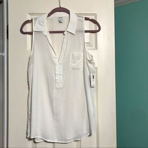 NWT Old Navy Linen Collared Tank Top
